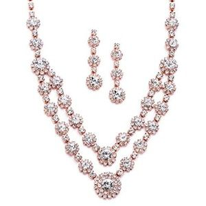Rose Gold 2-Row Rhinestone Crystal Necklace